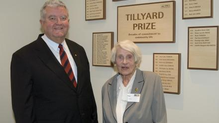 Former ANU Vice-Chancellor Professor Ian Chubb AC with Hope Hewitt (née Tillyard) in 2006. Photo by Stuart Hay.