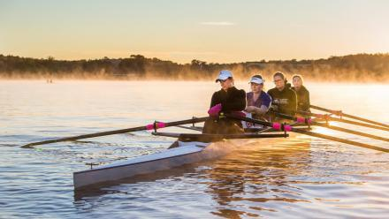 The ANU Boat Club on Lake Burley Griffin just after dawn. Photo by Stuart Hay.
