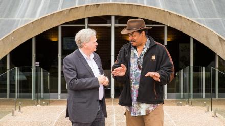 Professor Brian Schmidt AC and astrophysicist Neil deGrasse Tyson. Photo by Stuart Hay.