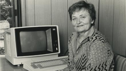 Skaidrite Darius in 1988. Photo by Darren Boyd. Courtesy of ANU Archives.
