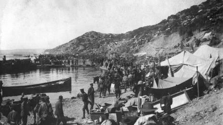 The scene at Gallipoli on 25 April 1915. Photo courtesy of Australian War Memorial.