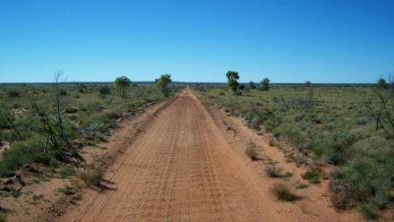 Australia's Gunbarrel Highway, like much of the US West Coast, is often very dry.