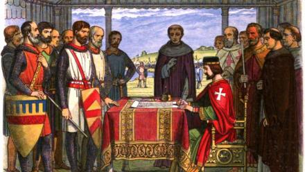 An illustration of King John signing the Magna Carta.