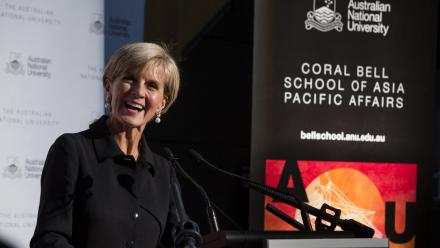 The Hon Julie Bishop MP at the naming of the Coral Bell School of Asia Pacific Affairs. Photo by Stuart Hay.