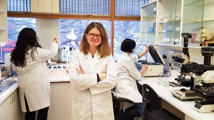 Dr Justyna Miszkiewicz in the lab. Photo: Isobel Crnkovic