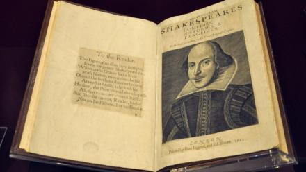 The First Folio of William Shakespeare's comedies, histories and tragedies, on display at the Victoria and Albert Museum in London. Photo published under Creative Commons 2.0.