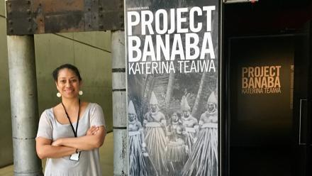 Associate Professor Katerina Teaiwa at the Project Banaba exhibition at Carriageworks.  Photo by Zan Wimberle