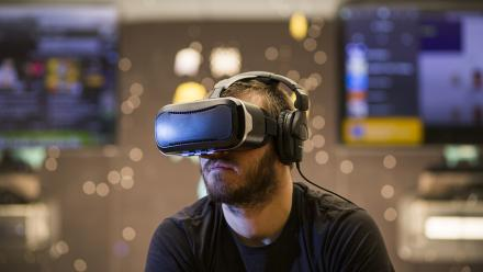 Virtual reality goggles allow immersion in video games. Photo by Lannon Harley.