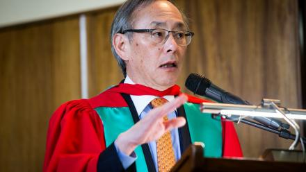 Nobel laureate and former US Energy Secretary Steven Chu received an Honorary Doctorate from ANU. Photo by Stuart Hay.