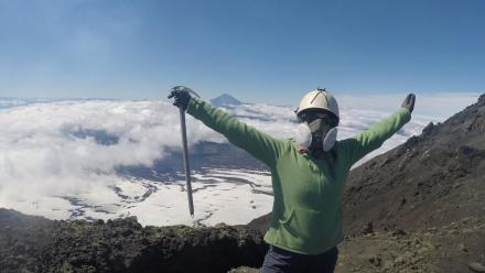 ANU undergraduate student Katya Murphy at the top of Volcan Villarrica in Chile.