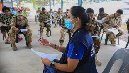 Dr Meru Sheel, was on the ground in Tonga and Papua New Guinea helping our neighbours with their response to the pandemic. Photo: WHO Country Office in Papua New Guinea.