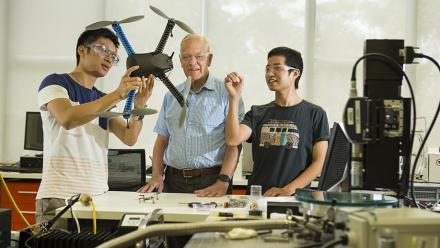 The Networked Systems team working on drones (from left): Engineering PhD student Mengbin (Ben) Ye, Emeritus Professor Brian Anderson and Postdoctoral Research Fellow Zhiyong Sun.