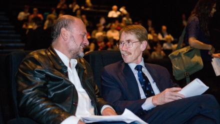 Professor Tim Flannery with ANU Vice-Chancellor Professor Ian Young AO in 2011. Photo by Stuart Hay.