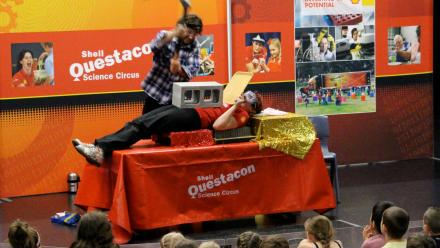 A safe yet thrilling experiment at a Science Circus public exhibition.