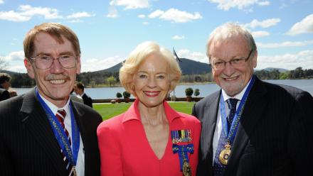 ANU Vice-Chancellor Professor Ian Young AO, then Governor-General Quentin Bryce and ANU Chancellor Professor Gareth Evans AC QC.