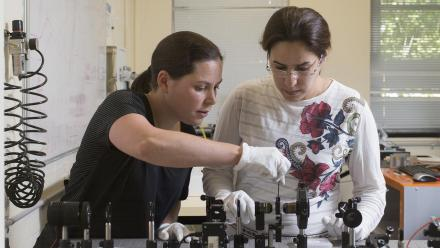 Dr Fiona Beck with PhD student Noushin Dolati. Photo by Lannon Harley.