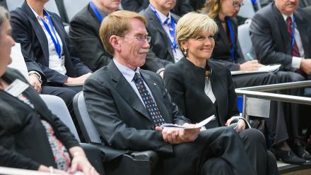 ANU Vice-Chancellor Ian Young AO and Minister for Foreign Affairs Julie Bishop.