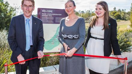 ANU Vice-Chancellor Professor Ian Young AO, Member for Canberra Gai Brodtmann and ANU Heritage Officer Amy Jarvis at the opening of the Mount Stromlo Observatory heritage trail. Photo by Stuart Hay.