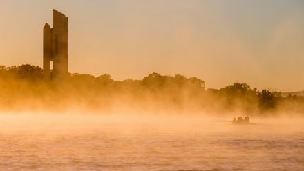 The ANU Boat Club in front of the National Carillon on Lake Burley Griffin. Photo by Stuart Hay.