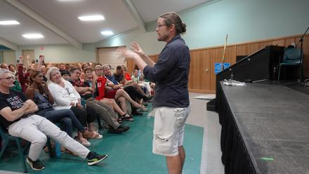 Dr Brad Tucker fields questions in Cairns about astronomy. Photo by Pamela Lourandos.