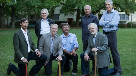 Surviving members of the ANU Mountaineering Club reunite 40 years after the climb. Photo by Jamie Kidston.
