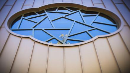 Every window in the CIW building is inspired by China. Photo by Stuart Hay.