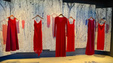 These dresses represent the high number of indigenous women going missing in Canada at the Canadian Museum for Human Rights.