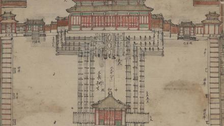 Plan of the Route from the Gate of the Great Qing to the Palace of Earthly Tranquillity (Daqing men zhi kunninggong zhong yilu liyang caodi) Guangxu period (1875–1908), Yangshi Lei Archives, National Library of China