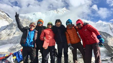After 8 days of trekking, we reached the Everest Basecamp at -30 degrees. From Left to right: Jevi Limbu, Prem Tamang, Suman Tamang, Christina Lee, Dinesh Tamang and Samjhana Tamang. Photo by Isabella McCarthy.