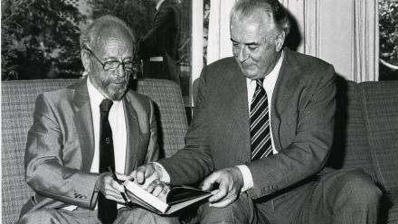 Former ANU Chancellor HC Coombs with former Prime Minister Gough Whitlam.