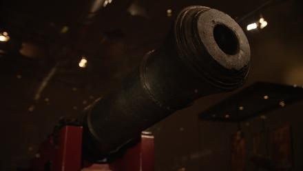 Endeavour cannon, c1725–1750 (cast iron cannon in replica carriage). One of six jettisoned on the Great Barrier Reef in 1770, recovered by the American Academy of Natural Sciences in 1969. Photo by Jason McCarthy, NMA.