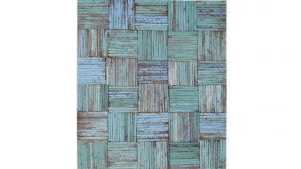 Beach house, Rosalie Gascoigne, 1990. Sawn or split painted wood from soft drink boxes on plywood. Image courtesy of Sotheby's Australia.