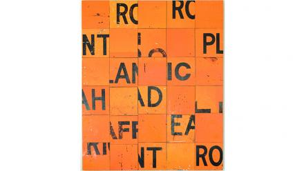 Checkerboard, Rosalie Gascoigne, 1990. Sawn plywood reflective road signs, plywood backing. Image by Brenton McGeachie, courtesy of the National Gallery of Victoria, Melbourne.