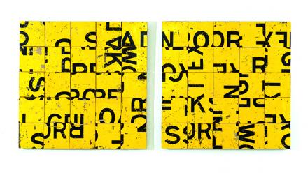 Tiger Tiger, Rosalie Gascoigne, 1987. Sawn retroreflective plywood road signs with plywood backing. Image by Jenni Carter, courtesy of the Museum of Contemporary Art, Sydney.