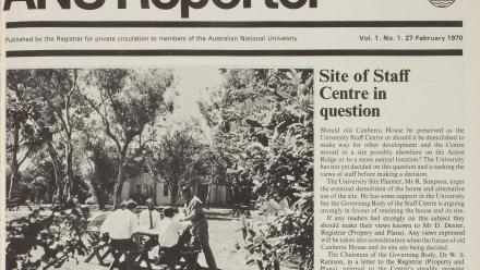 The very first ANU Reporter, from 27 February 1970.