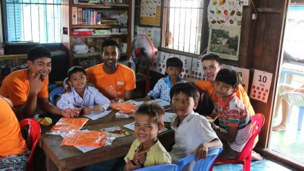 Jeeven and the World Vision Australia group taught at schools in rural Cambodia.