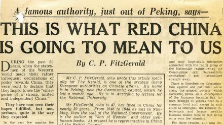 An article by CP FitzGerald in The Sydney Morning Herald in 1952.
