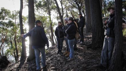 John Blay, an author based on the NSW South Coast, took ANU students along the Bundian Way. Photo by Heike Qualitz.
