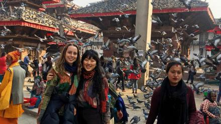 Isabella McCarthy and Christina Lee, best friends from Cairns State High School, now in the beautiful chaos of Durbar Square, Kathmandu – ready for another adventure. Photo by Sangita Tamang.