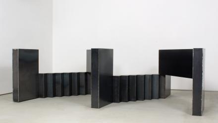 Landings, by Kensuke Todo, 2008, Mild steel, 90 x 309 x 198 cm, Courtesy the artist and King Street Gallery on Williams. Photo by Stuart Hay.