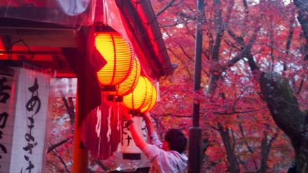 A worker begins to turn off lanterns at a teahouse at Kyoto, Photo by Zoe Cameron