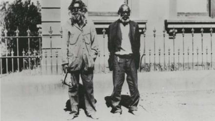 Jimmy Clements (left) and John Noble (right) in front of Old Parliament House, 1927. Source: National Library of Australia.