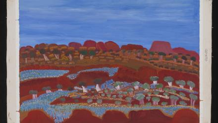 Manmarr Daisy Andrews, Mangkaja Arts, Lumpulumpu, acrylic on canvas, 2007