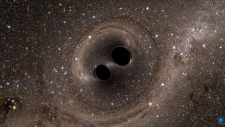 An artist's impression of two black holes colliding. Image: SXS
