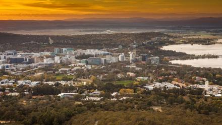 Sunset over Canberra from Black Mountain Tower. Photo by Stuart Hay.