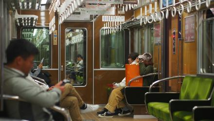 On the Hankyu railway, Kyoto. Photo by Zoe Cameron.