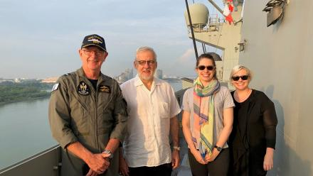 Joint Task Group Commander, Air Commodore Richard Owen, Professor John Blaxland, Ms Imogen Mathew and Dr Bec Strating on the HMAS Canberra during the Indo-Pacific Endeavour 2019 (IPE19)