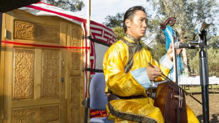 A Mongolian throat singer plays at the gifting of the Ger on behalf of the President of Mongolia. Photo by Stuart Hay.