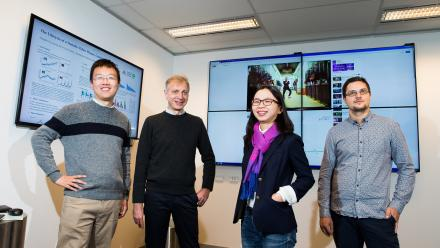 Researchers Honglin Yu, Prof Pascal van Hentenryck, Dr Lexing Xie and Dr Marian-Andrei Rizoiu. Photo by Stuart Hay.