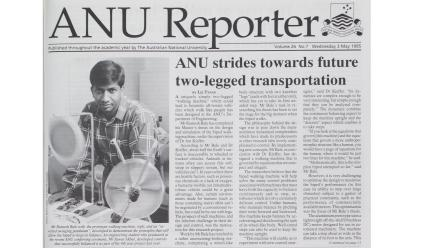 ANU Reporter Volume 26 No 7, published on Wednesday 3 May 1995, displayed Ramesh Bale's ultimate walking machine.